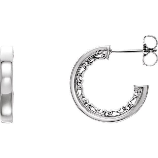 Sterling Silver 16x2.6 mm Vintage-Inspired Hoop Earrings