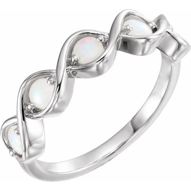 14K White Opal Stackable Ring