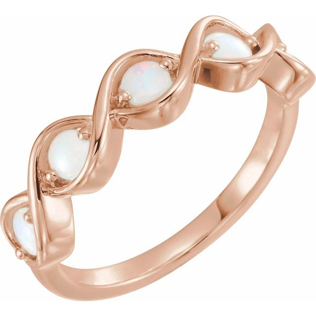 14K Rose Opal Stackable Ring