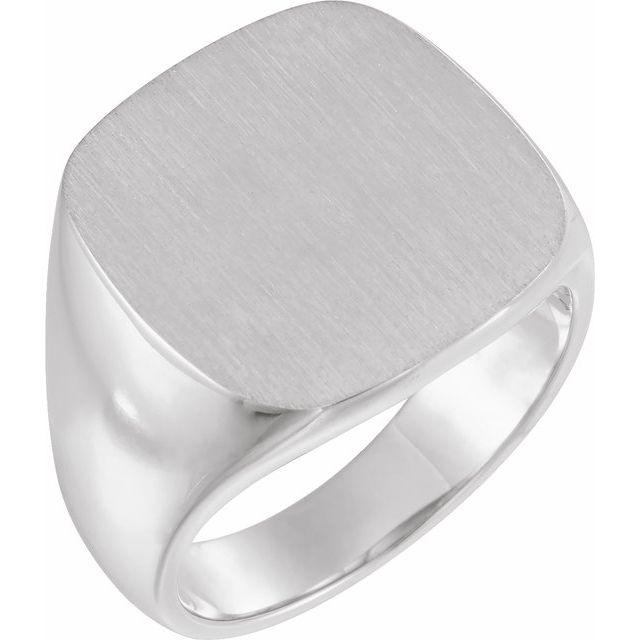 10K White 18x18 mm Square Signet Ring