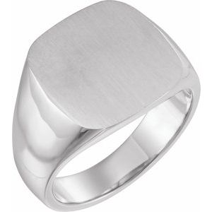 14K White 16x16 mm Square Signet Ring