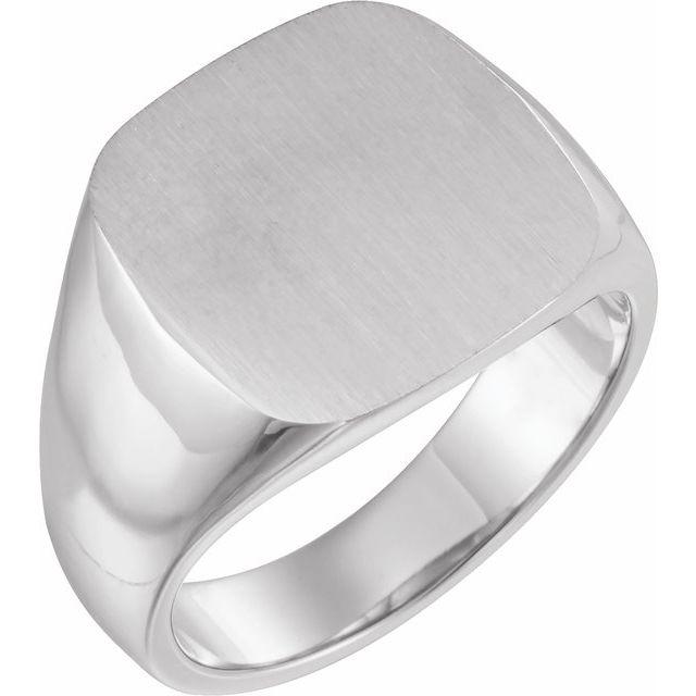 14K White 16x16 mm Square Signet Ring