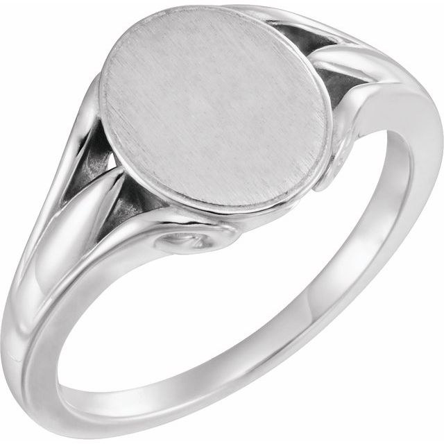 Sterling Silver 12x10 mm Oval Signet Ring