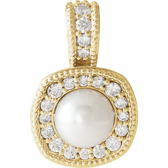 14K Yellow White Freshwater Cultured Pearl & 1/4 CTW Diamond Pendant