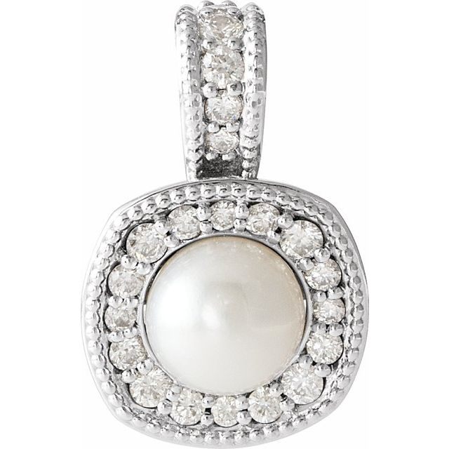 14K White Freshwater Cultured Pearl & 1/4 CTW Diamond Pendant