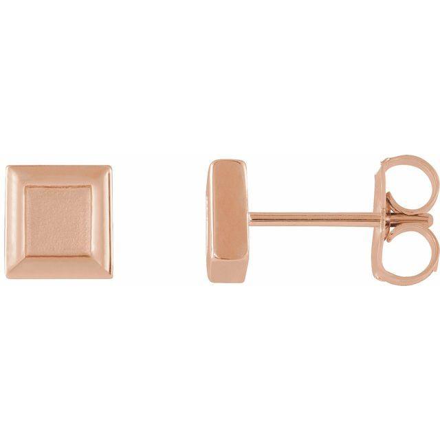 14K Rose Square Petite Earrings