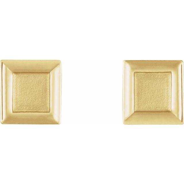 14K Yellow Square Petite Earrings