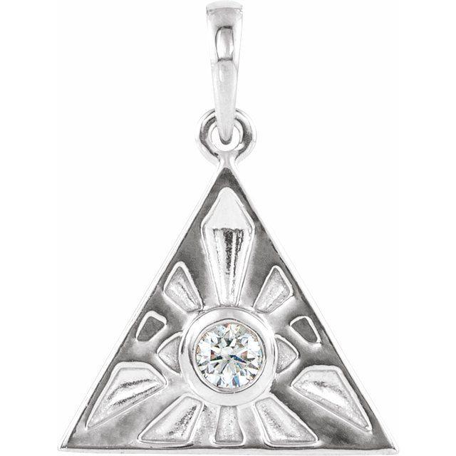 Sterling Silver 1/10 CTW Diamond Eye of Providence Pendant
