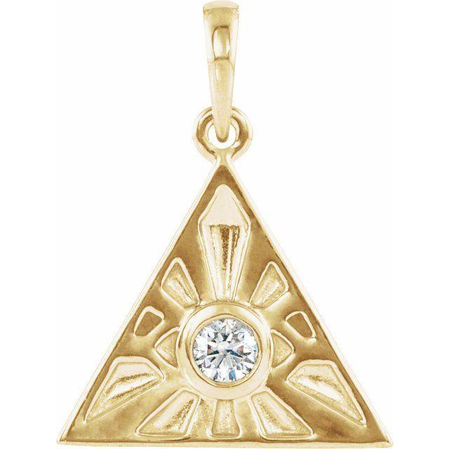 14K Yellow 1/10 CTW Diamond Eye of Providence Pendant