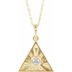 "14K Yellow 1/10 CTW Diamond Eye of Providence 16-18"" Necklace"