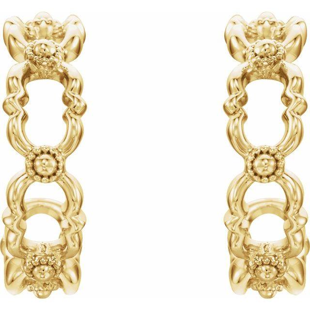 14K Yellow Quatrefoil Hoop Earrings