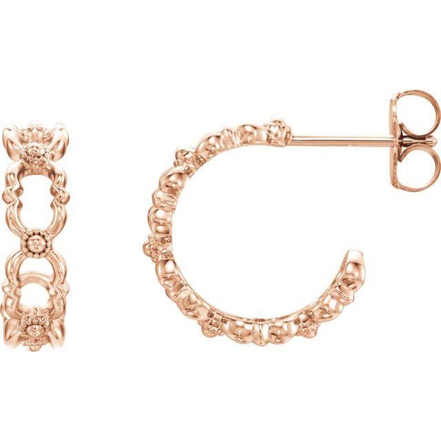 14K Rose Quatrefoil Hoop Earrings
