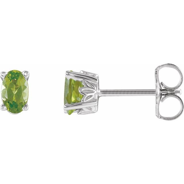 14K White Peridot Earrings