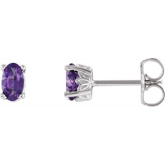 14K White Amethyst Earrings