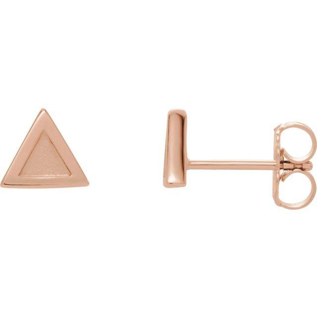 14K Rose Petite Triangle Earrings