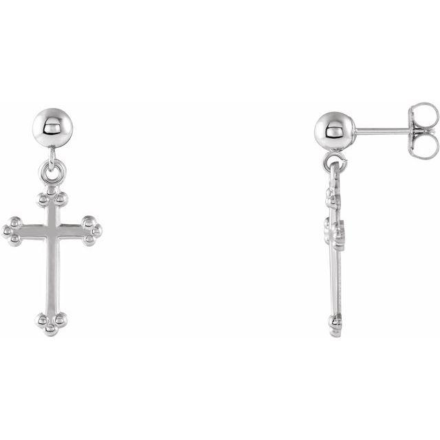 14K White Cross & Ball Earrings