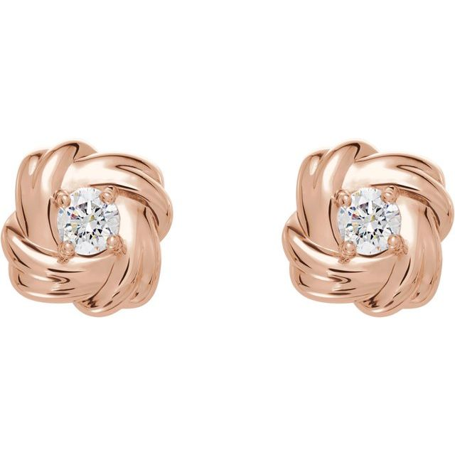 14K Rose 1/5 CTW Diamond Knot Earrings