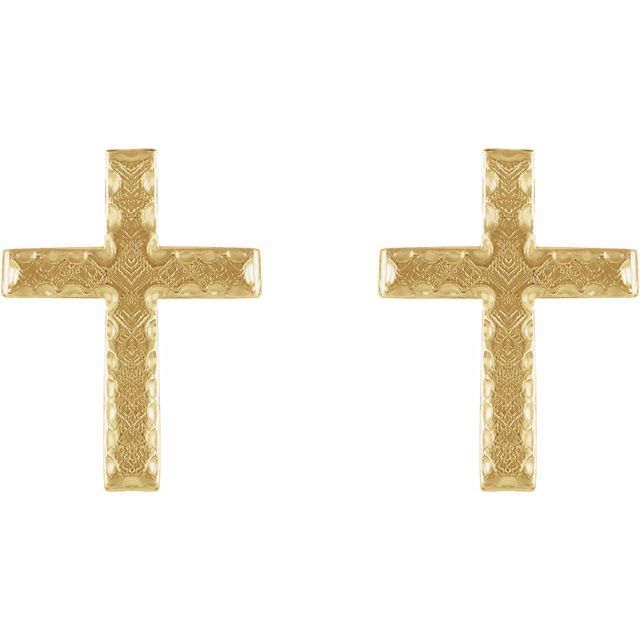 14K Yellow 13x9 mm Cross Earrings