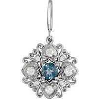 Sterling Silver London Blue Topaz & Diamond Vintage-Style Charm