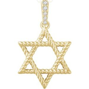 14K Yellow .025 CTW Diamond Star of David Pendant