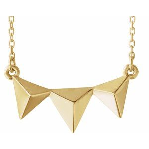 "14K Yellow Pyramid 16-18"" Necklace"