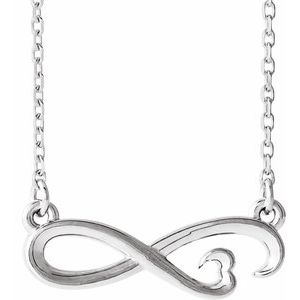 "14K White Infinity-Inspired Heart 16-18"" Necklace"