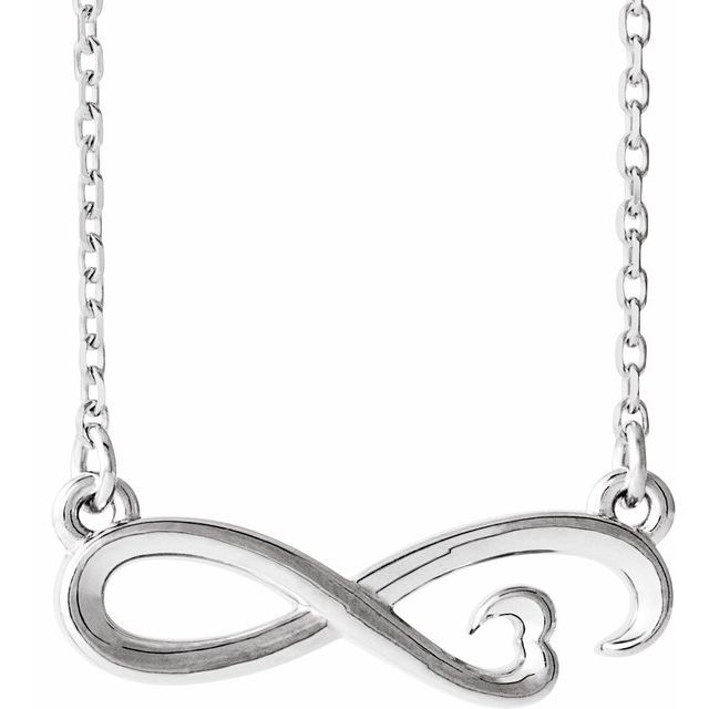 Sterling Silver Infinity-Inspired Heart 16-18
