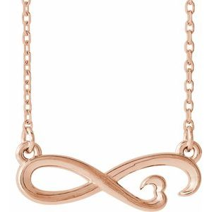"""14K Rose Infinity-Inspired Heart 16-18"""" Necklace"""