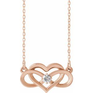"14K Rose 1/10 CTW Diamond Infinity-Inspired Heart 16-18"" Necklace"