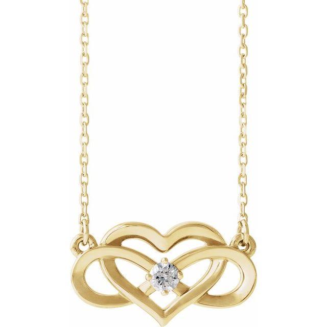 14K Yellow 1/10 CTW Diamond Infinity-Inspired Heart 16-18