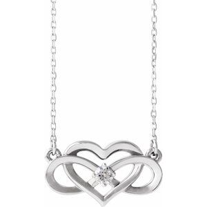 "14K White 1/10 CTW Diamond Infinity-Inspired Heart 16-18"" Necklace"