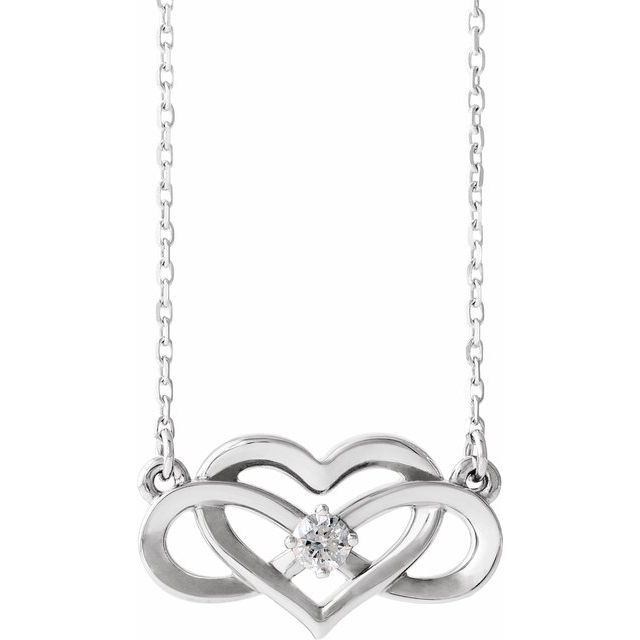 Sterling Silver 1/10 CTW Diamond Infinity-Inspired Heart 16-18