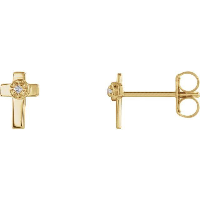 14K Yellow 7x5 mm .01 CTW Diamond Cross Earrings