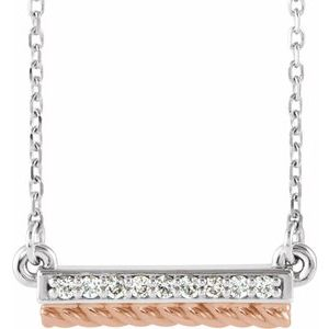 "14K White/Rose .08 CTW Diamond Rope Bar 16-18"" Necklace"