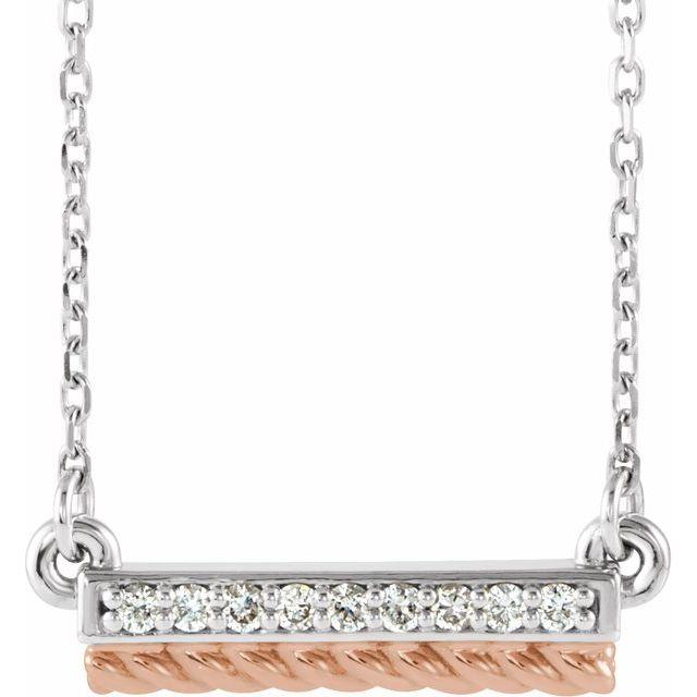 14K White & Rose .08 CTW Diamond Rope Bar 16-18