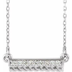 "14K White/Yellow .08 CTW Diamond Rope Bar 16-18"" Necklace"