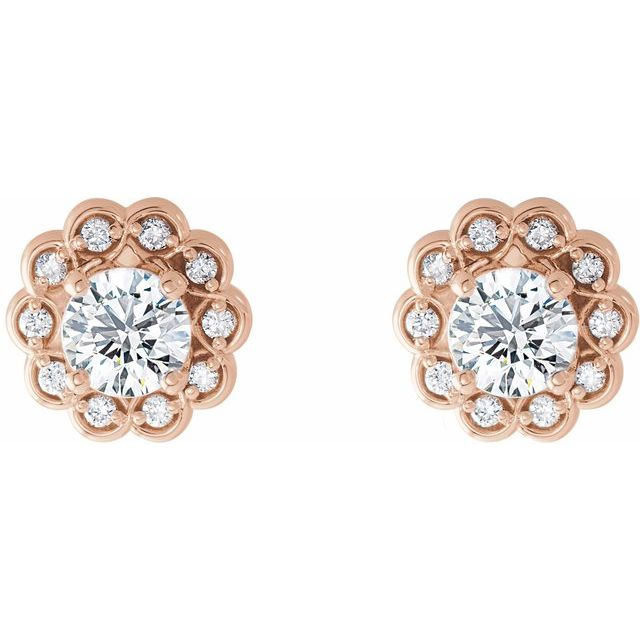14K Rose 5/8 CTW Diamond Halo-Style Earrings