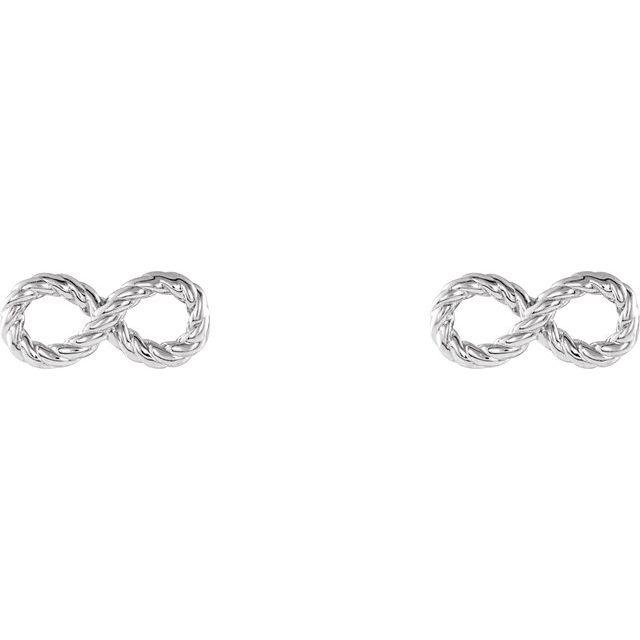 14K White Infinity-Inspired Rope Earrings