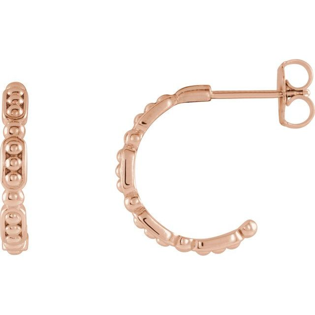 14K Rose Beaded Hoop Earrings
