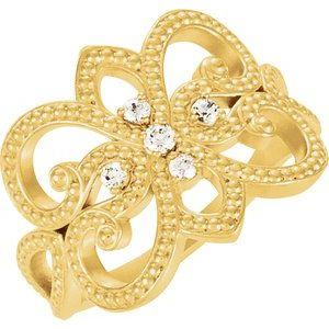 14K Yellow 1/8 CTW Diamond Granulated Design Ring Size 7