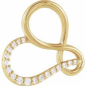 14K Yellow .07 CTW Diamond Infinity-Inspired Heart Pendant