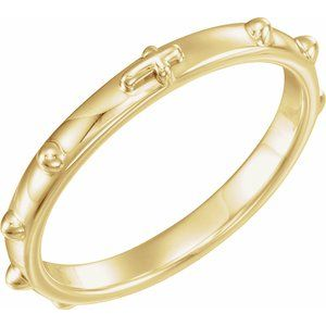 14K Yellow Rosary Ring Size 11