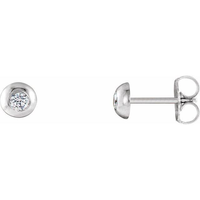 Platinum 1/8 CTW Diamond Domed Stud Earrings