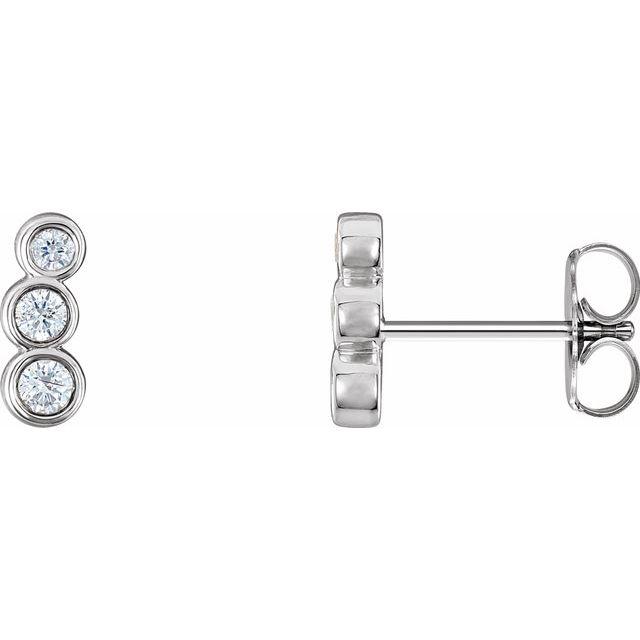 14K White 1/6 CTW Diamond Petite Ear Climbers
