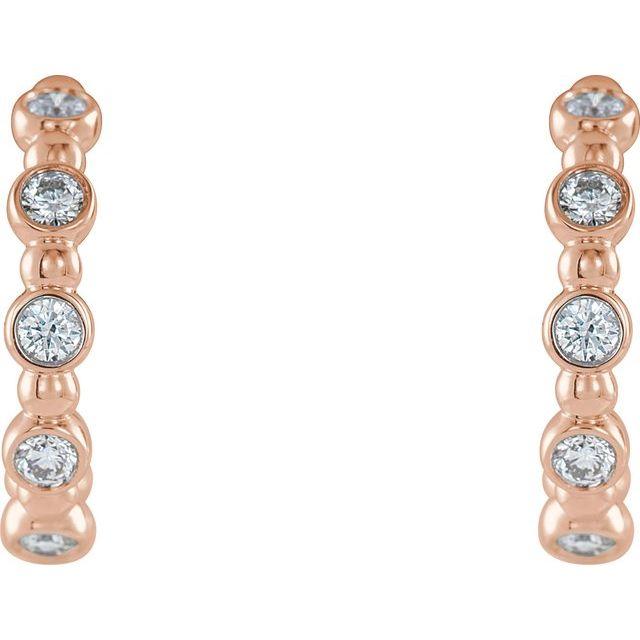14K Rose 3/8 CTW Diamond Beaded Hoop Earrings