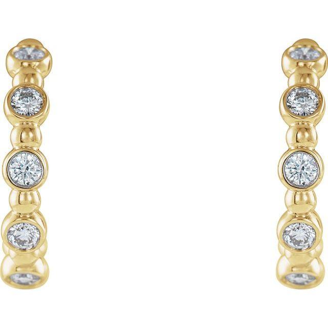 14K Yellow 3/8 CTW Diamond Beaded Hoop Earrings