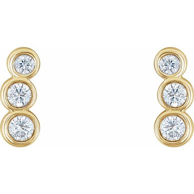 14K Yellow 1/8 CTW Diamond Petite Ear Climbers