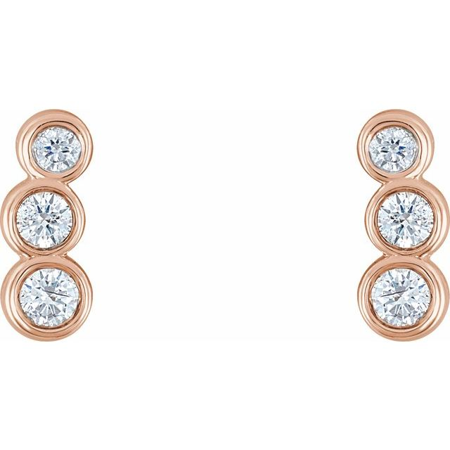 14K Rose 1/6 CTW Diamond Petite Ear Climbers