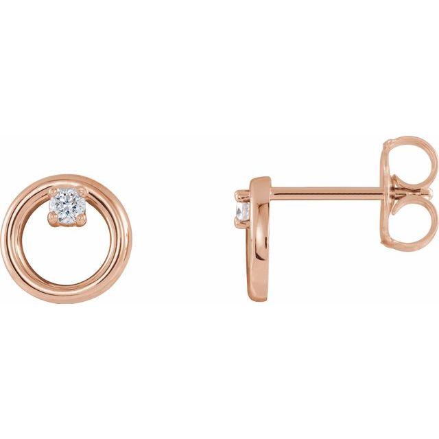 14K Rose .06 CTW Diamond Circle Earrings