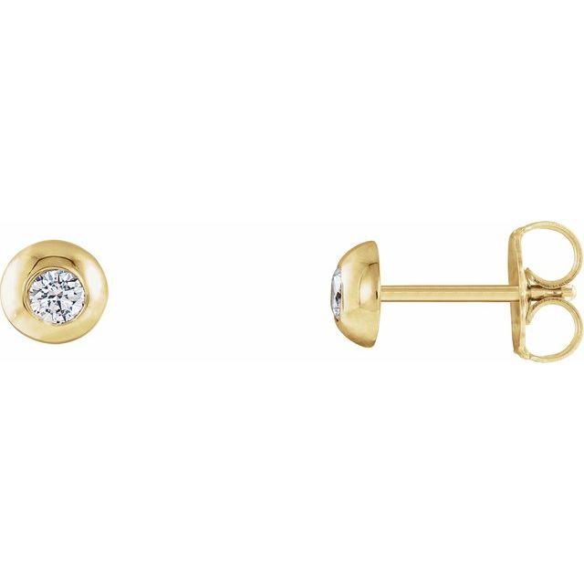 14K Yellow 1/8 CTW Diamond Domed Stud Earrings